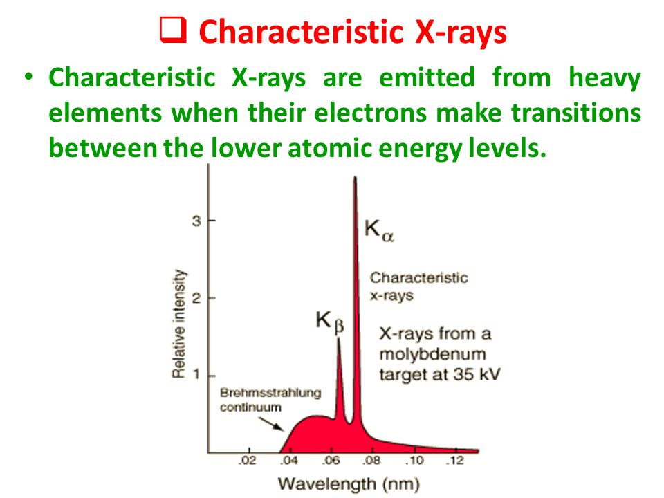 X rays objectives introduction and production of x rays x rays characteristic x rays are emitted from heavy elements when their electrons make transitions between the lower atomic energy levels ccuart Image collections