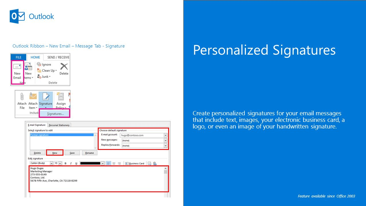 Microsoft outlook 2016 quick tips shortcuts to save you time mcc personalized signatures create personalized signatures for your messages that include text images your electronic reheart Image collections