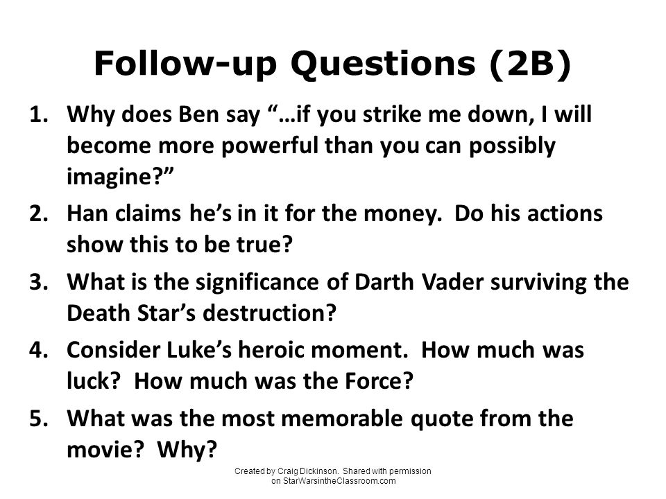 Star Wars Entry Tasks And Follow Up Questions Created By Craig
