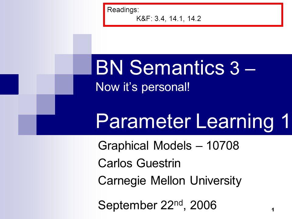 1 BN Semantics 3 Now Its Personal