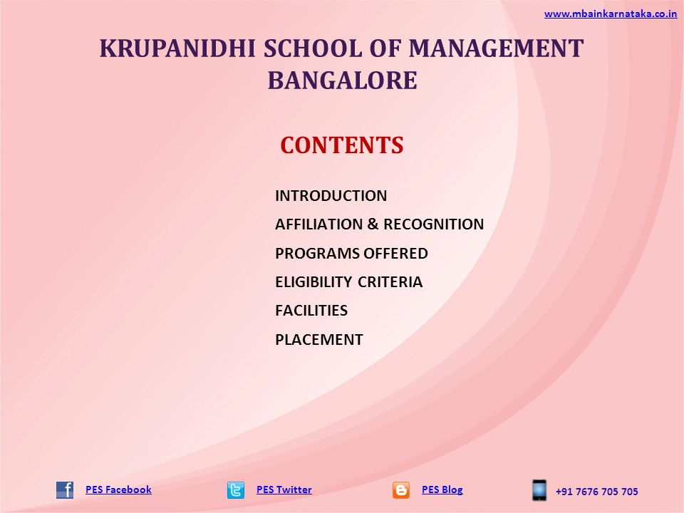 KRUPANIDHI SCHOOL OF MANAGEMENT BANGALORE PES TwitterPES
