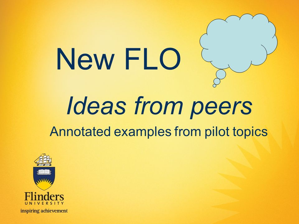 New FLO Ideas from peers Annotated examples from pilot