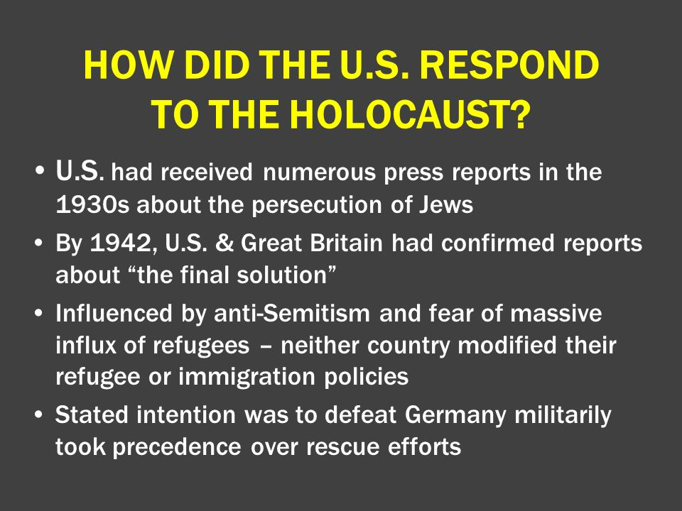 how did the us respond to the holocaust