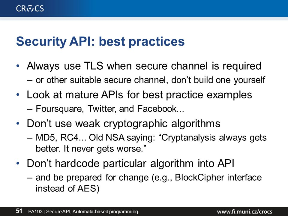 PA193 - Secure coding principles and practices Designing
