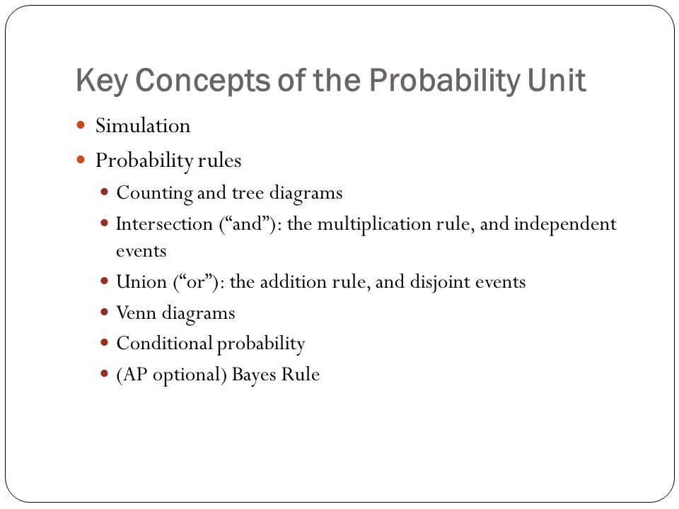 Key Concepts Of The Probability Unit Simulation Probability Rules