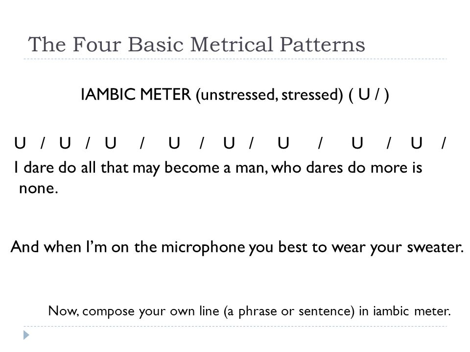Poetic Meter How To Scan For Meaning The Four Basic Metrical