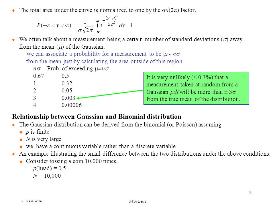 R  Kass/W04 P416 Lec 3 1 Lecture 3 The Gaussian Probability