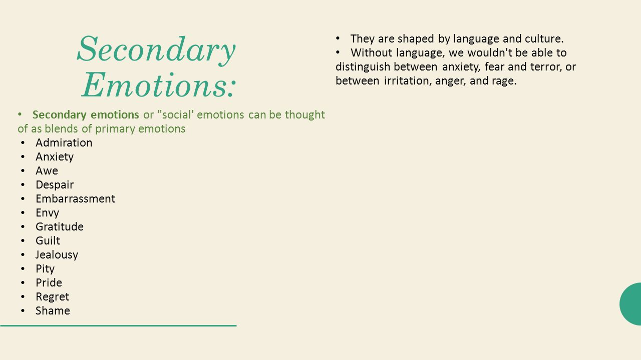 Emotions and secondary emotions primary Primary and