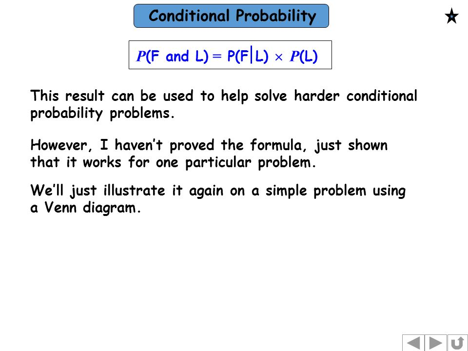 Conditional Probability We Talk About Conditional Probability When
