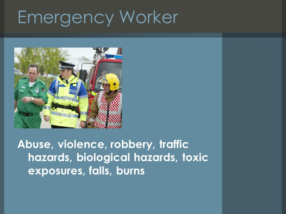 Working alone dennis mac hands uk health and safety resources ppt 10 emergency worker abuse violence robbery traffic hazards biological hazards toxic exposures falls burns fandeluxe Choice Image