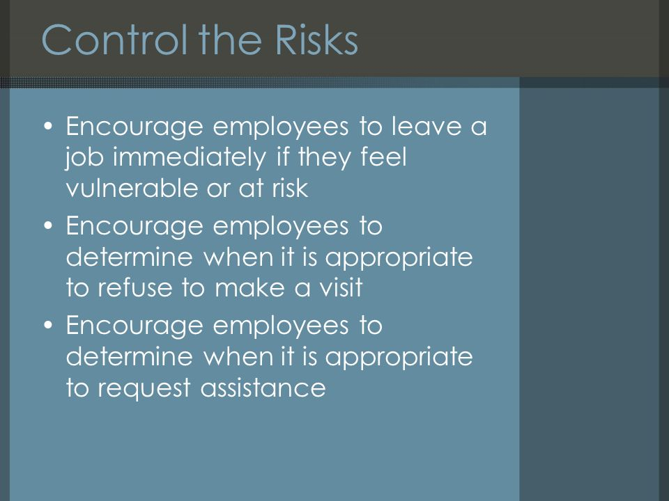 Working alone dennis mac hands uk health and safety resources ppt 44 control fandeluxe Choice Image