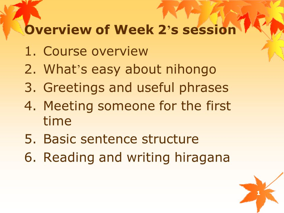 nihon go 1 overview of week 2 s session 1urse what s easy about nihongo 3eetings and useful phrases 4eting someone for the first time 5sic sentence structure 6ading and writing hiragana m4hsunfo