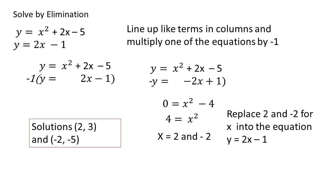 Lesson 9.6 Topic/ Objective: To solve non linear systems of equations. EQ:  How do you find the point of intersection between two equations when one  is. - ppt download