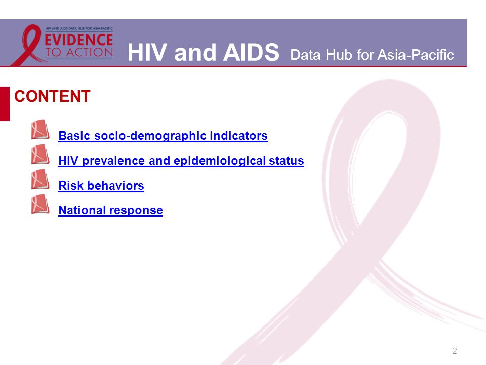HIV and AIDS Data Hub for Asia-Pacific 2 Basic socio-demographic indicators HIV prevalence and epidemiological status Risk behaviors National response CONTENT