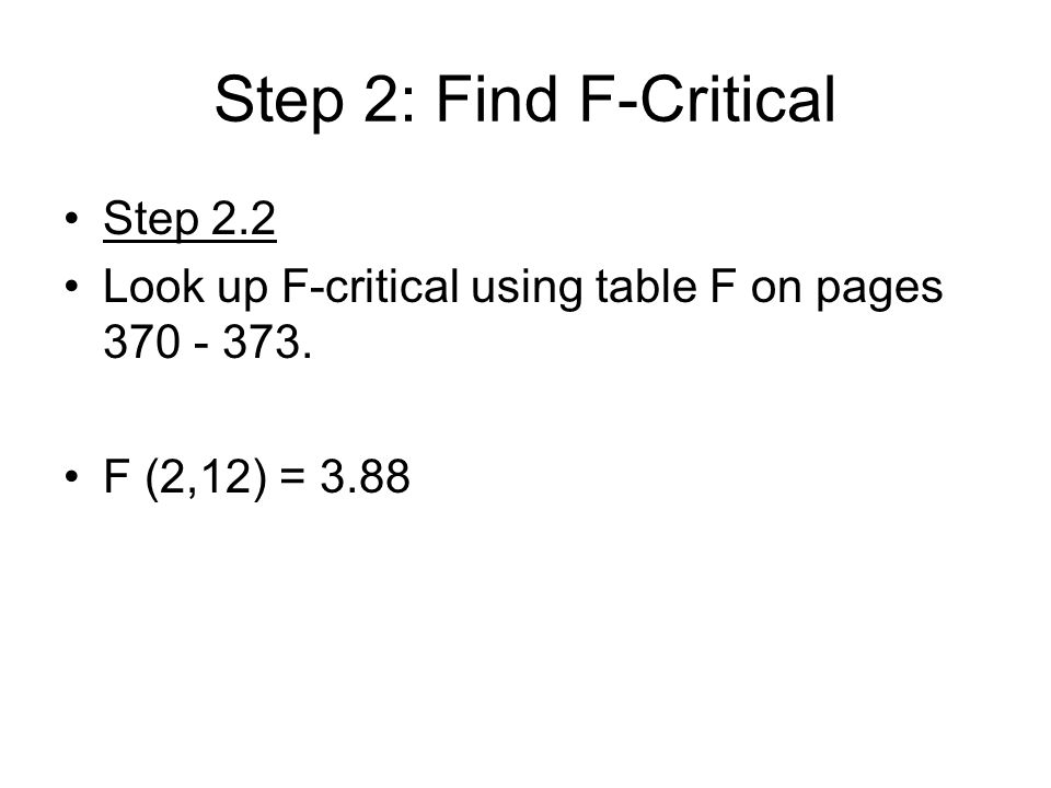 Six Easy Steps For An Anova 1 State The Hypothesis 2 Find