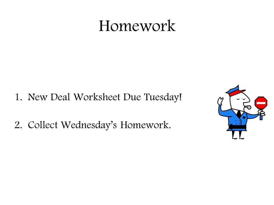 New Deal Quiz Objectives Students Will Be Able To Demonstrate