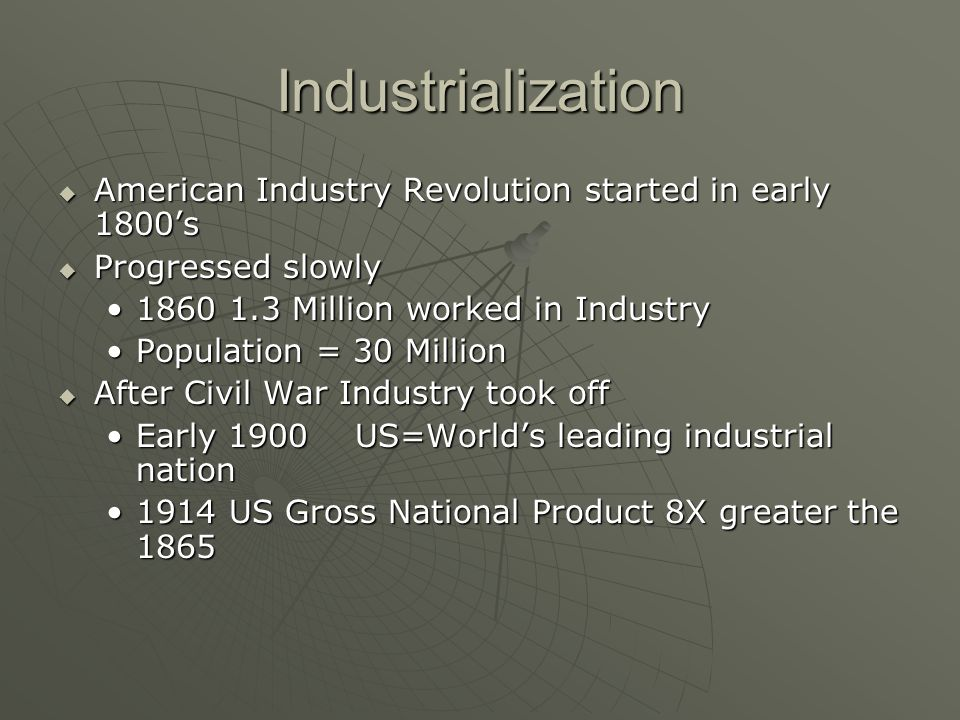 a history of the rapid industrialization of the nation after the civil war After the civil war, there was a large demand for agricultural machines things like seeders, combines, binders, reapers, and rotary plows were in demand this helped the railroad business, as trains carried the machines out to the west, which promoted grain growing in places like california.