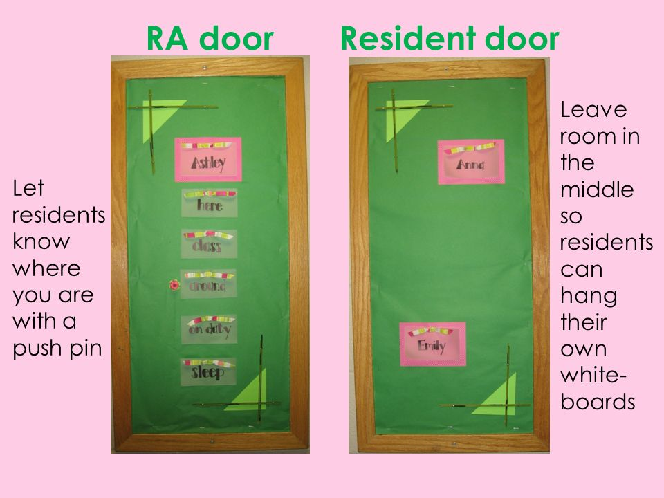 Pink Green Door Decs Submitted By Ashley Sroufe Senior Resident