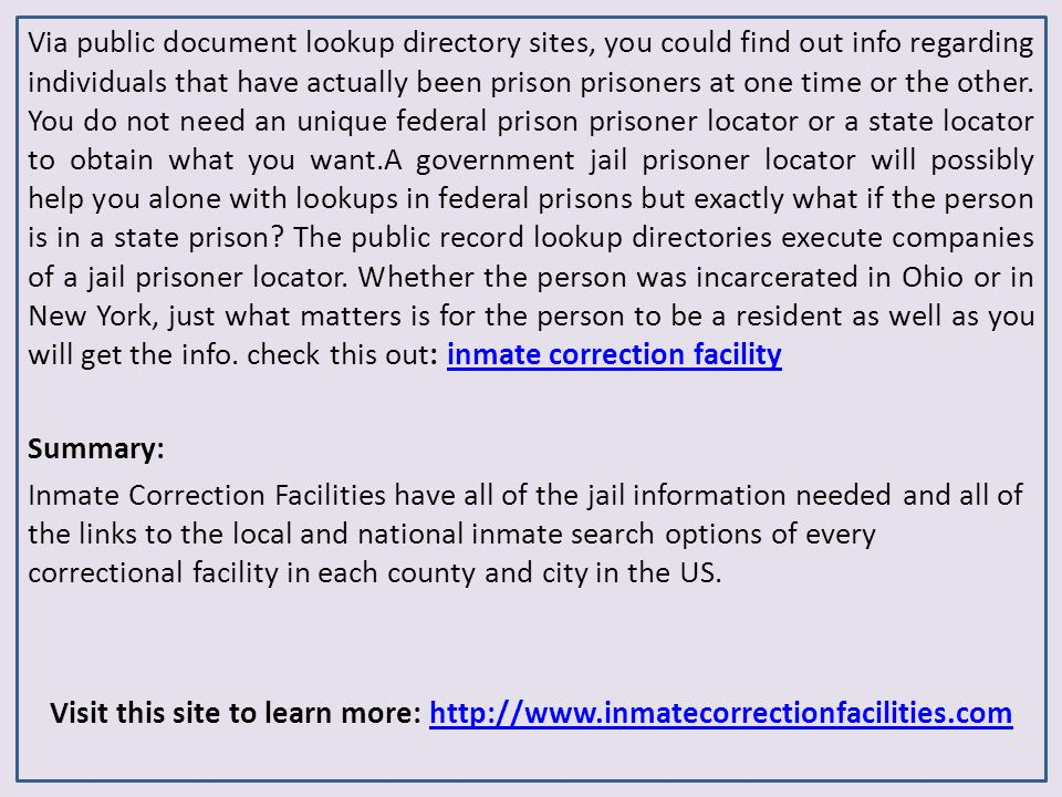 Inmate Correction Facilities - Prison Inmate Search Services