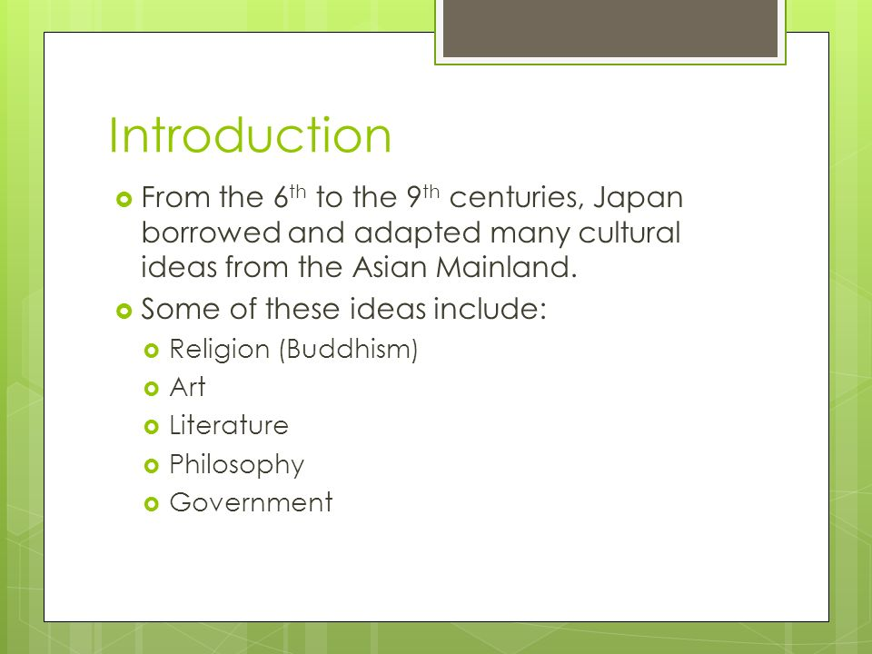 TCI Chapter 19: The Influence of Neighboring Cultures on Japan In