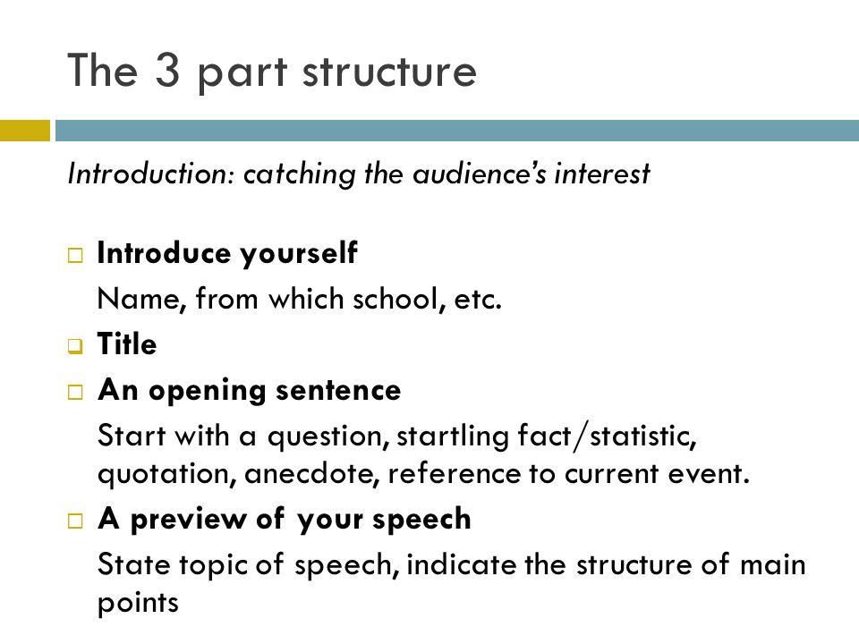 opening sentence for speech