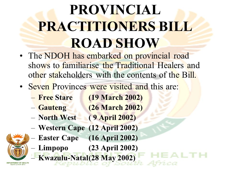TRADITIONAL HEALERS PROGRESS REPORT PRESENTED BY MRS TR