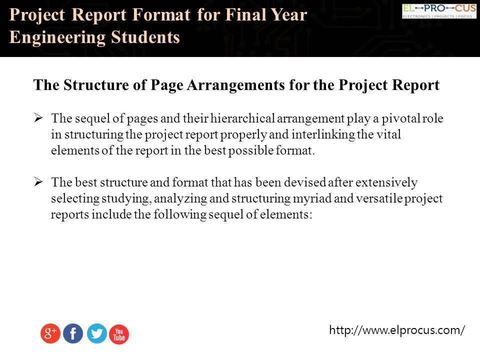 project report format for final year engineering students ppt
