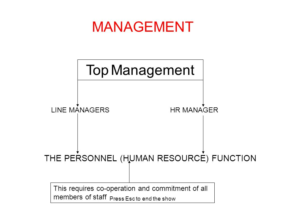 Press Esc to end the show MANAGEMENT Top Management LINE MANAGERSHR MANAGER THE PERSONNEL (HUMAN RESOURCE) FUNCTION This requires co-operation and commitment of all members of staff