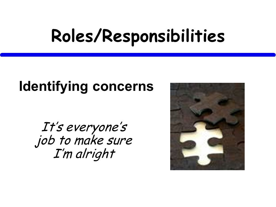 Roles/Responsibilities Its everyones job to make sure Im alright Identifying concerns