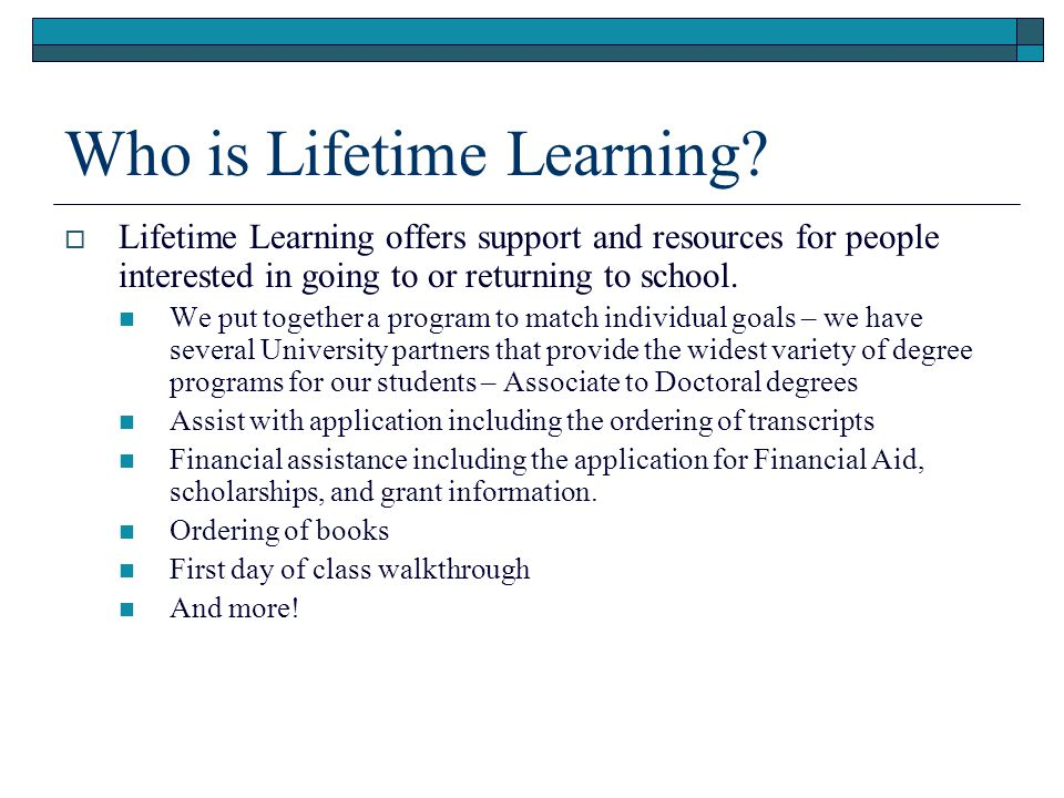 Who is Lifetime Learning.