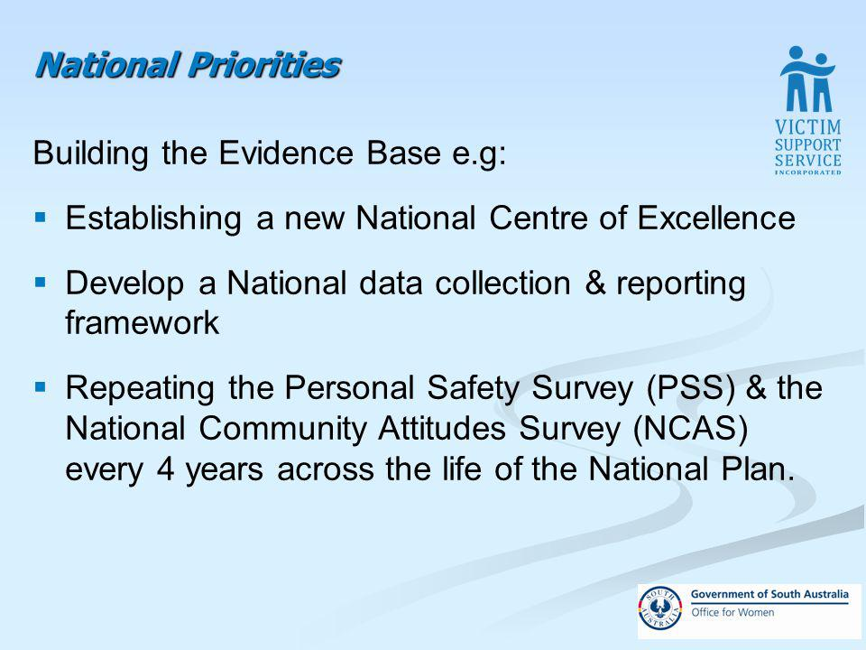 National Priorities Building the Evidence Base e.g: Establishing a new National Centre of Excellence Develop a National data collection & reporting framework Repeating the Personal Safety Survey (PSS) & the National Community Attitudes Survey (NCAS) every 4 years across the life of the National Plan.
