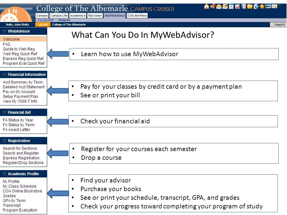 What Can You Do In MyWebAdvisor.