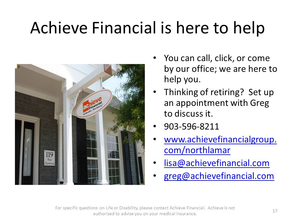 Achieve Financial is here to help You can call, click, or come by our office; we are here to help you.