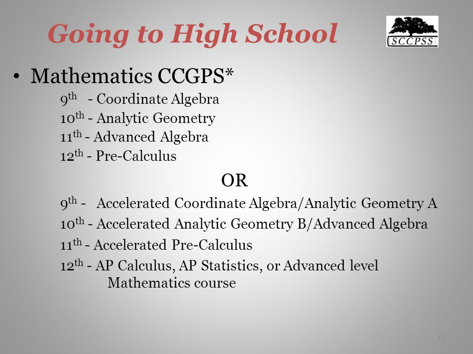 Going to High School Mathematics CCGPS* 9 th - Coordinate Algebra 10 th - Analytic Geometry 11 th - Advanced Algebra 12 th - Pre-Calculus OR 9 th - Accelerated Coordinate Algebra/Analytic Geometry A 10 th - Accelerated Analytic Geometry B/Advanced Algebra 11 th - Accelerated Pre-Calculus 12 th - AP Calculus, AP Statistics, or Advanced level Mathematics course 10