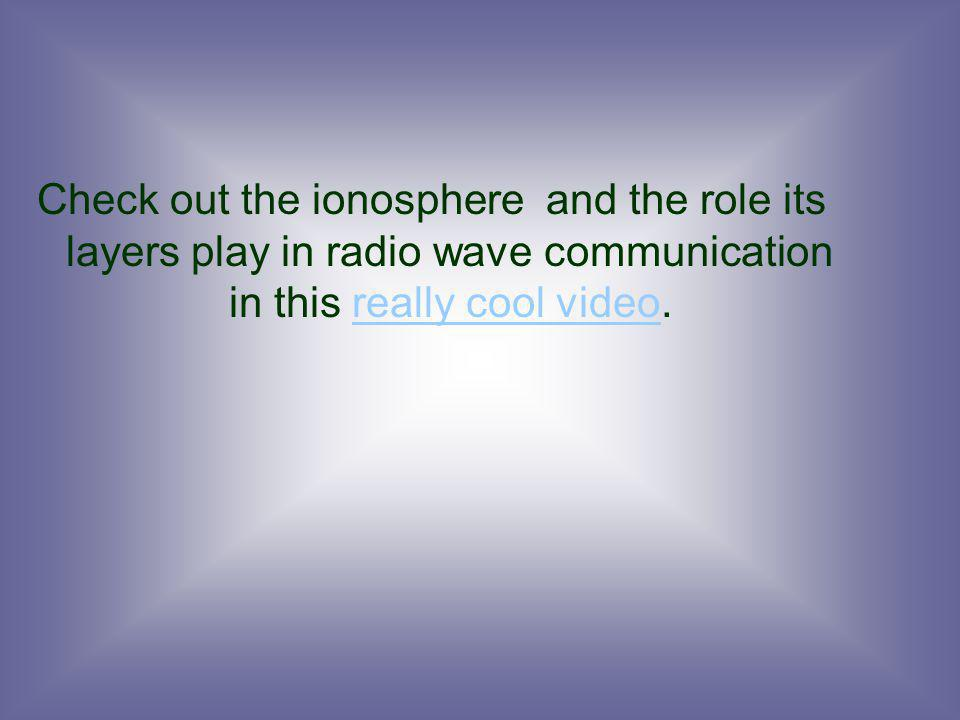 Check out the ionosphere and the role its layers play in radio wave communication in this really cool video.really cool video