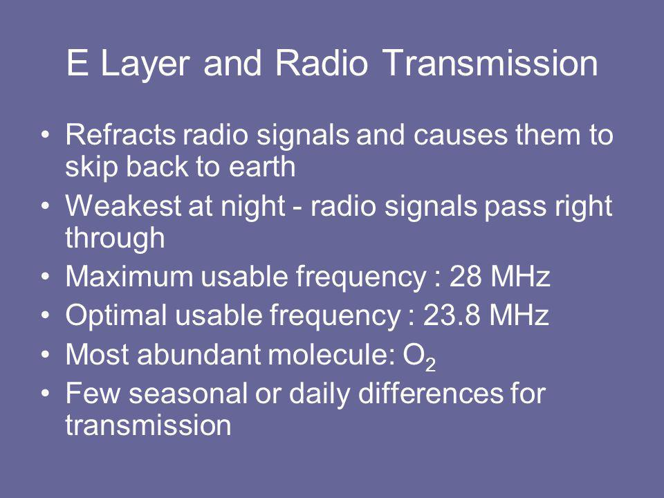 E Layer and Radio Transmission Refracts radio signals and causes them to skip back to earth Weakest at night - radio signals pass right through Maximum usable frequency : 28 MHz Optimal usable frequency : 23.8 MHz Most abundant molecule: O 2 Few seasonal or daily differences for transmission