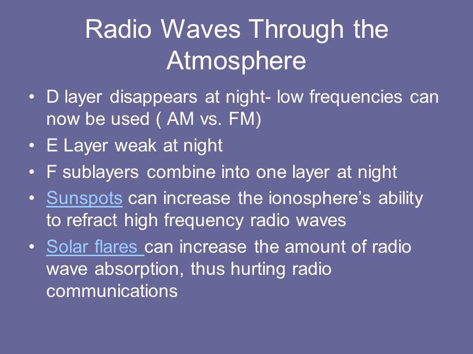 Radio Waves Through the Atmosphere D layer disappears at night- low frequencies can now be used ( AM vs.