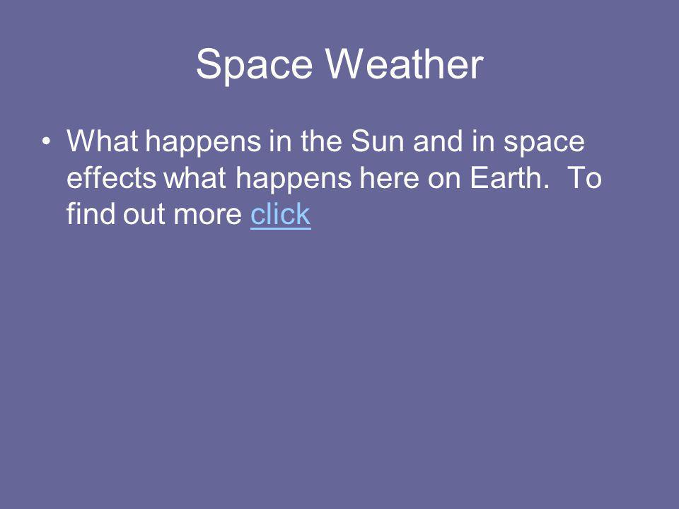Space Weather What happens in the Sun and in space effects what happens here on Earth.