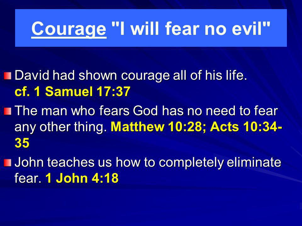 Courage I will fear no evil David had shown courage all of his life.