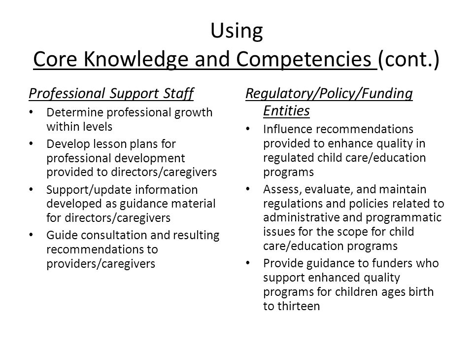 Using Core Knowledge and Competencies (cont.) Professional Support Staff Determine professional growth within levels Develop lesson plans for professional development provided to directors/caregivers Support/update information developed as guidance material for directors/caregivers Guide consultation and resulting recommendations to providers/caregivers Regulatory/Policy/Funding Entities Influence recommendations provided to enhance quality in regulated child care/education programs Assess, evaluate, and maintain regulations and policies related to administrative and programmatic issues for the scope for child care/education programs Provide guidance to funders who support enhanced quality programs for children ages birth to thirteen