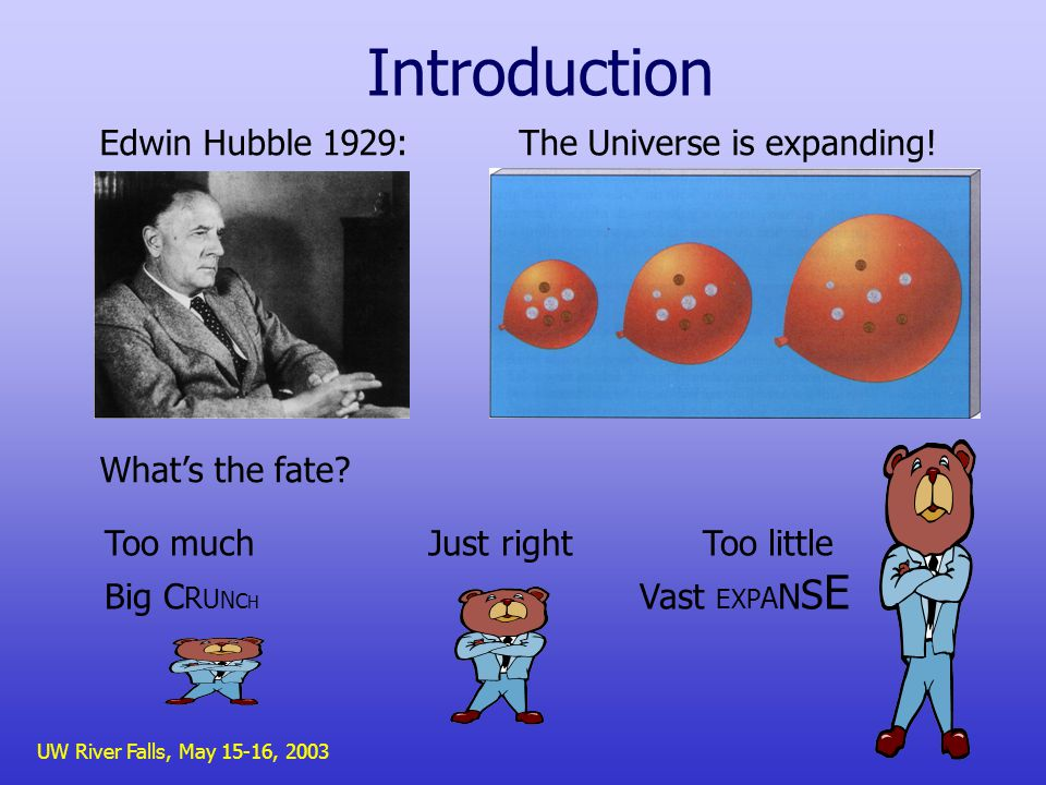 UW River Falls, May 15-16, 2003 Introduction Edwin Hubble 1929: The Universe is expanding.