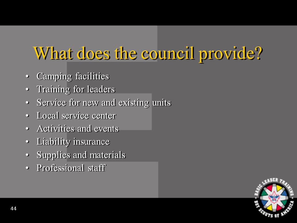 43 How does the community support the local council.