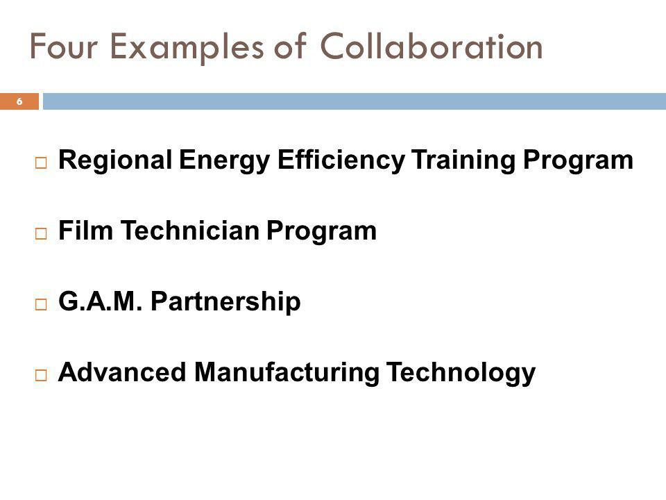 Four Examples of Collaboration Regional Energy Efficiency Training Program Film Technician Program G.A.M.