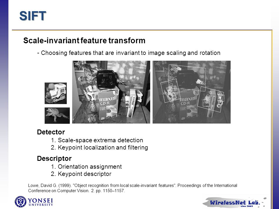 SIFT Descriptor 1. Orientation assignment 2. Keypoint descriptor Detector 1.