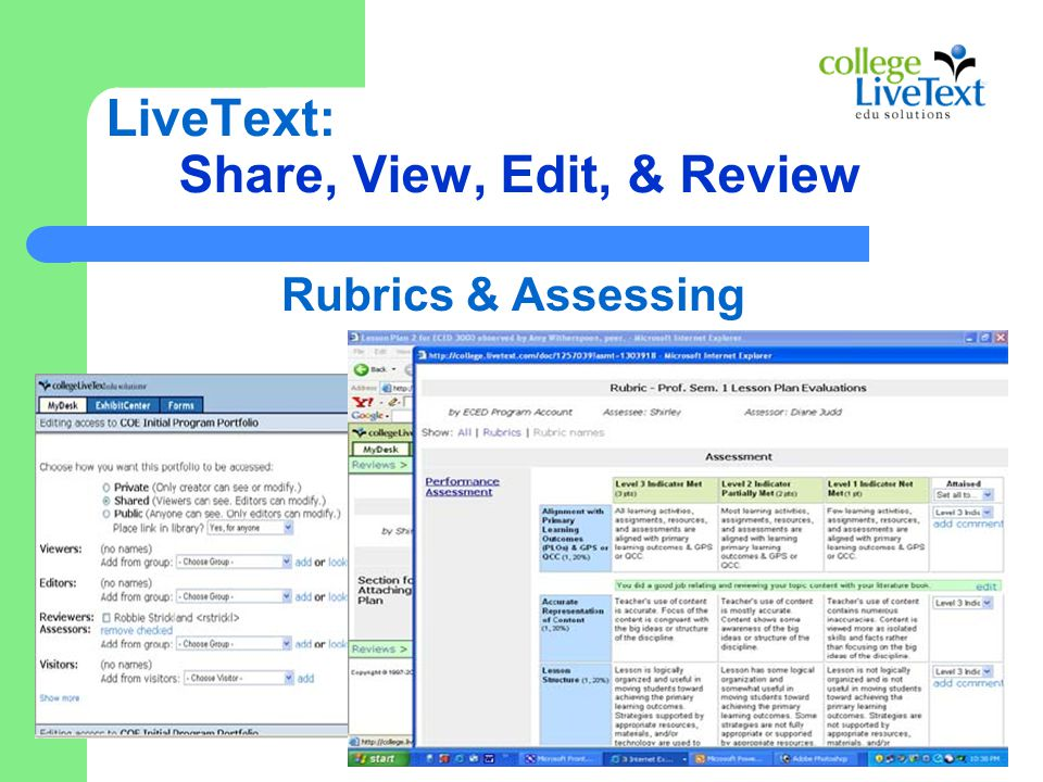 LiveText: Share, View, Edit, & Review Rubrics & Assessing