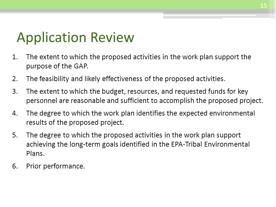 Application Review 1.