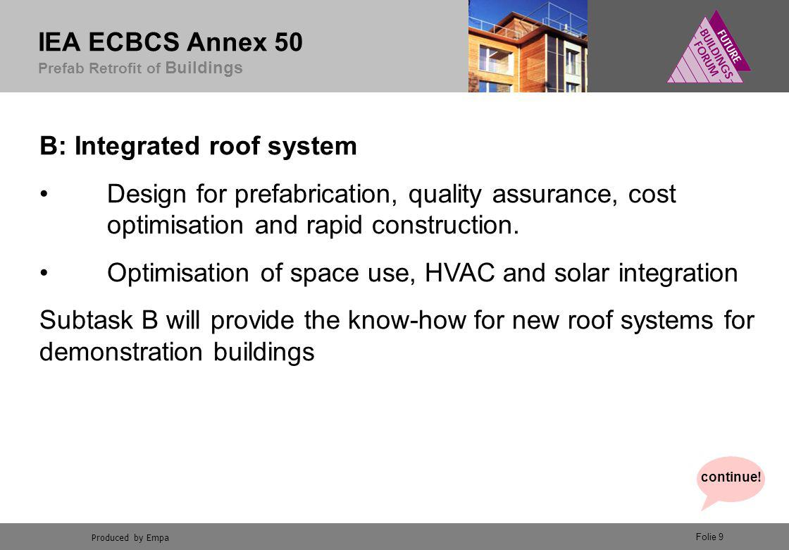 Produced by Empa IEA ECBCS Annex 50 Prefab Retrofit of Buildings Folie 9 B: Integrated roof system Design for prefabrication, quality assurance, cost optimisation and rapid construction.