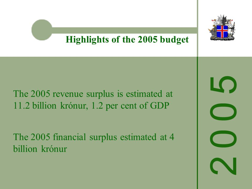 The 2005 revenue surplus is estimated at 11.2 billion krónur, 1.2 per cent of GDP Highlights of the 2005 budget The 2005 financial surplus estimated at 4 billion krónur