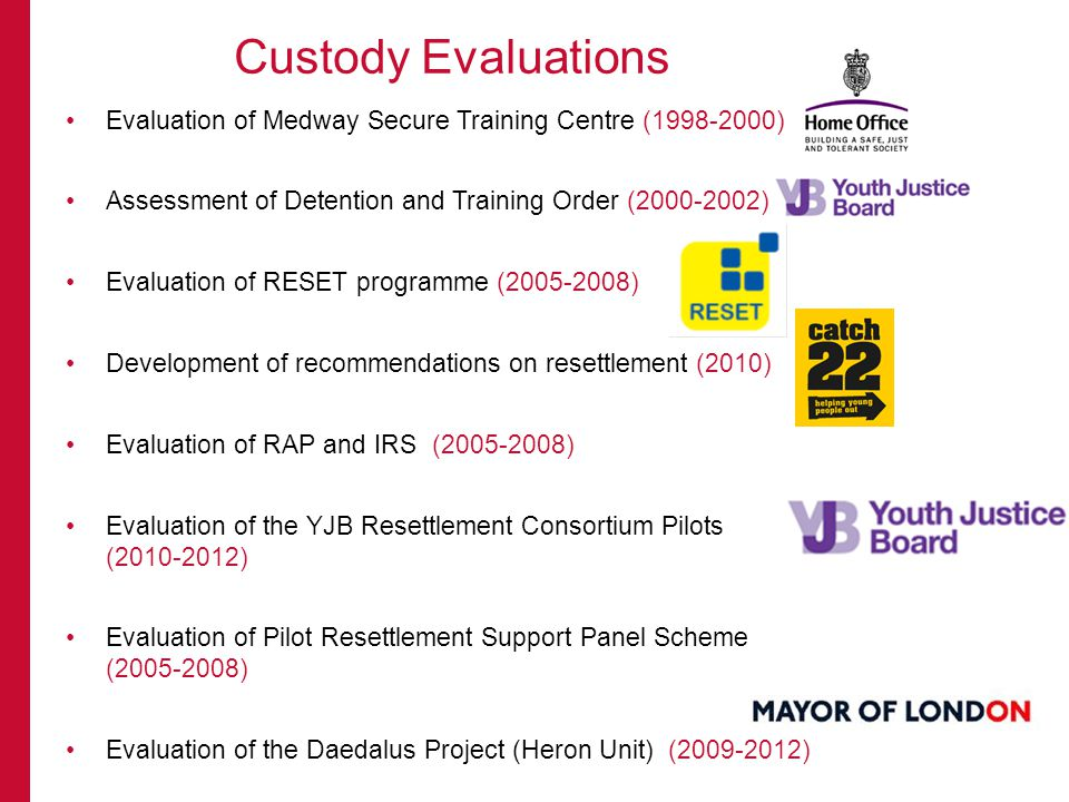 Evaluation of Medway Secure Training Centre ( ) Assessment of Detention and Training Order ( ) Evaluation of RESET programme ( ) Development of recommendations on resettlement (2010) Evaluation of RAP and IRS ( ) Evaluation of the YJB Resettlement Consortium Pilots ( ) Evaluation of Pilot Resettlement Support Panel Scheme ( ) Evaluation of the Daedalus Project (Heron Unit) ( ) Custody Evaluations