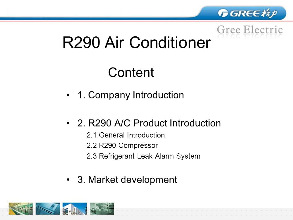 R290 Air Conditioner Presented on behalf of GREE By Dr